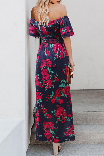 Off Shoulder Short Sleeve High Slit Floral Long Dress LC611711