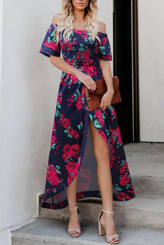 Off Shoulder Short Sleeve High Slit Floral Long Dress