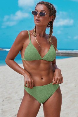 Green Triangular Smocked Bikini Set