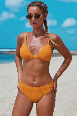 Yellow Triangular Smocked Bikini Set