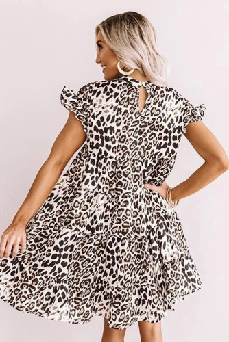 White Cute Leopard Babydoll Dress LC221319