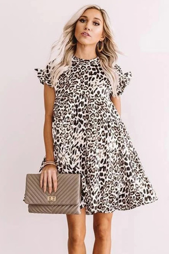 White Cute Leopard Babydoll Dress