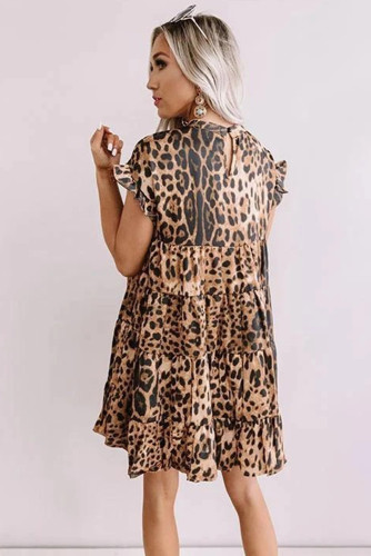 Brown Cute Leopard Babydoll Dress LC221319