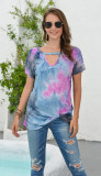 Blue Tie Dye Hollow Out Front Twisted Top
