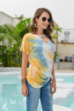 Yellow Tie Dye Hollow Out Front Twisted Top