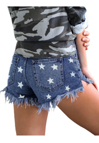 Light Blue Star Print Shorts Jeans with Tassel XC654