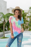 Pink Tie Dye Hollow Out Front Twisted Top