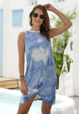 Light Blue Tie Dye Sleeveless Twisted Dress