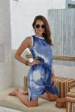 Dark Blue Tie Dye Sleeveless Twisted Dress