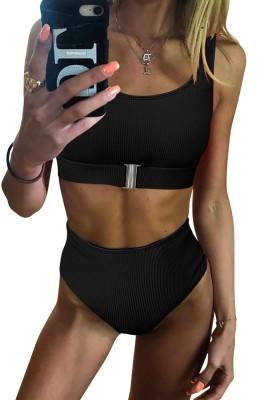 Black Textured Buckle Front Top With High Waist Bikini