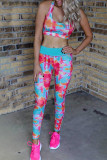 Rose Turquoise Tie Dye Yoga Tank Jogging Set