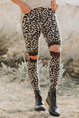Floral Hollow Out Brown Leopard Printed Skinny Leggings