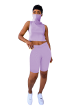 Purple Crop Top Short Pant Outfits with Veil