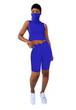 Blue Crop Top Short Pant Outfits with Veil