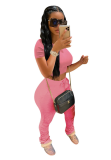 Pink Solid Sportswear Drawstring Stacked Pants Set