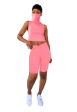 Pink Crop Top Short Pant Outfits with Veil