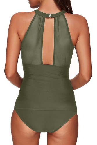 Green High Neck Plunge Mesh Ruched Tankini Swimwear LC412093