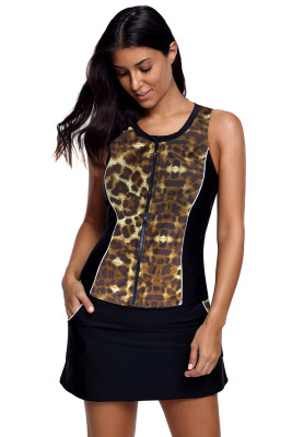 Brown Slim Your Figure Leopard Print Accent Skirtini Swimsuit