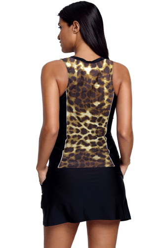 Brown Slim Your Figure Leopard Print Accent Skirtini Swimsuit LC410264