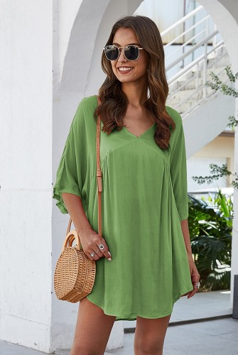 Green Half Sleeve Solid Beach Mini Dress
