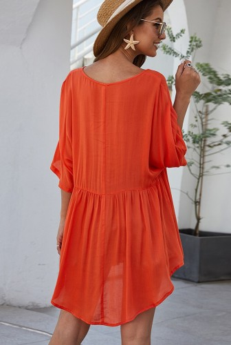 Orange Half Sleeve Solid Beach Mini Dress XC673