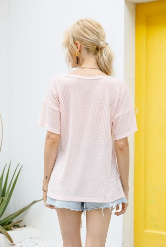 Pink Waffle Knit V Neck Top with Pocket XC672