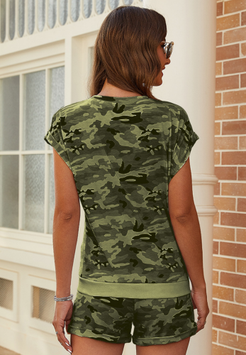 Army Green Camouflage Cap Sleeve Shorts Set XC670