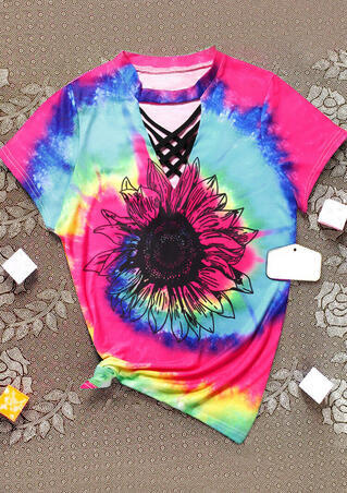 Tie Dye Sunflower Print V Neck Top