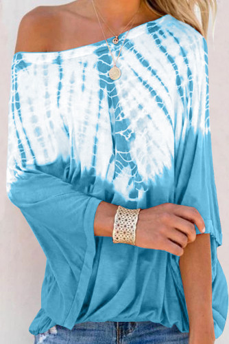 Sky Blue Fashion Casual Tie Dye Print Blouse
