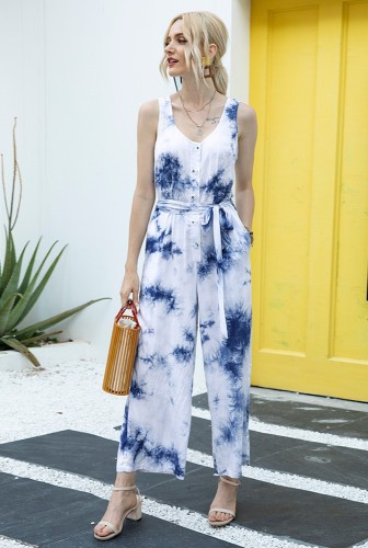 Blue Tie Dye Button Up Jumpsuit with Belt