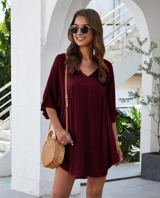 Wine Red Half Sleeve Solid Beach Mini Dress