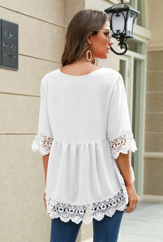 Chiffon V Neck Half Sleeve Blouse with Lace XC674