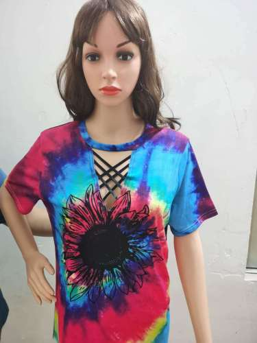 Tie Dye Sunflower Print V Neck Top XC666