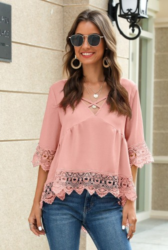 Chiffon V Neck Half Sleeve Blouse with Lace