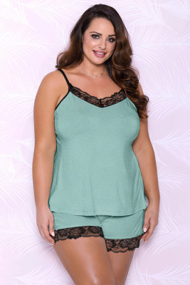 Green Plus Size Pajamas Set with Lace Trim
