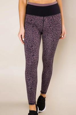 Purple Leopard Print Active Leggings
