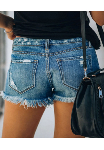 Ripped Hot Shorts Jeans with Tassel XC675