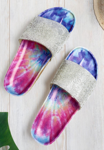 Tie Dye Sequined Flat Sandals