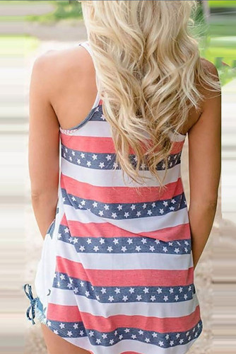 White Independence Day Star Print Tank Top XC719