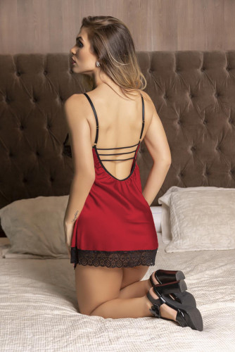 Red Lace Spice Satin Babydoll with Slit LC35005