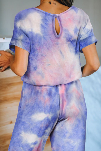 Multicolor Pocketed Tie-dye Knit Jumpsuit LC44005