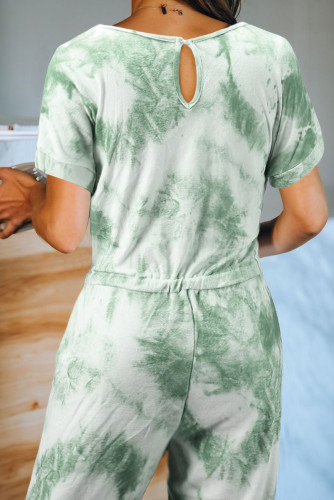 Green Pocketed Tie-dye Knit Jumpsuit LC44005