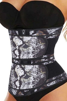 Snake Printing Compression Double Strap Latex Waist Trainer