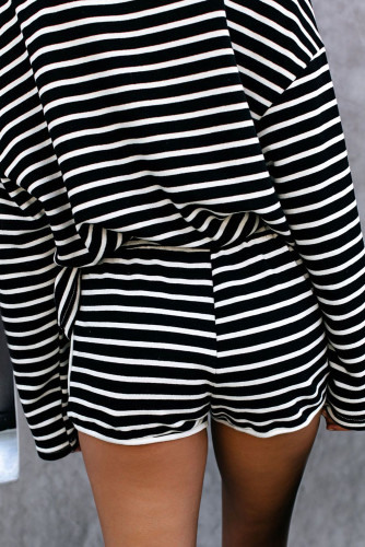 Black Striped Lounge Long Sleeves Shorts Set LC45063