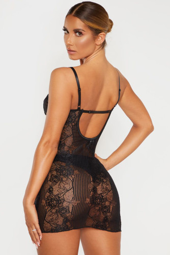 Black Lace Lingerie Slip Dress LC31522