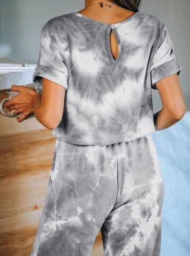 Grey Tie Dye One Piece Jumpsuit 5930