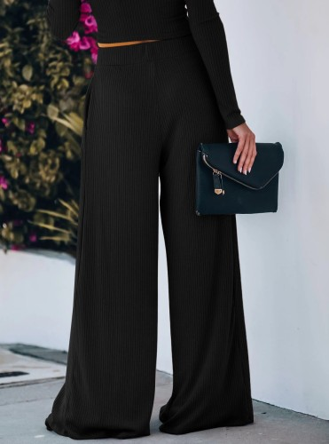 Black Yoga Wide Leg Pants with Pockets 5931