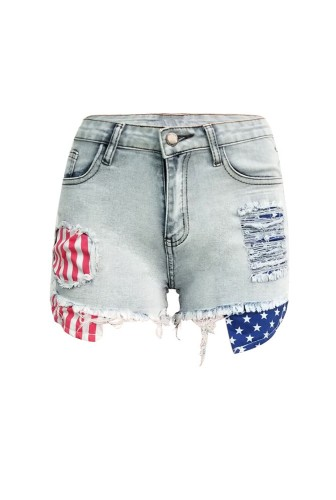 American Flag Print Shorts Jeans