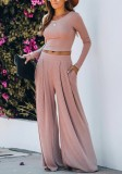 Pink Solid Full Length Wide Leg Pants Set