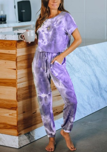 Purple Tie Dye One Piece Jumpsuit